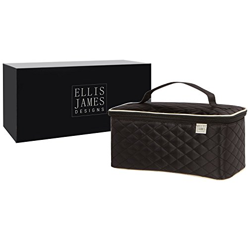 Ellis James Designs Large Travel Makeup Bag Organizer - Cosmetic Train Case Toiletry Bags for Women - Black - With Handle & Make Up Brush Holders - Professional Hair Dryer Cases & Beauty Storage by Ellis James Designs (Image #1)