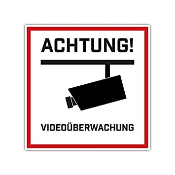 Achtung Videouberwachung Videouberwachung Aufkleber 10cmx10cm