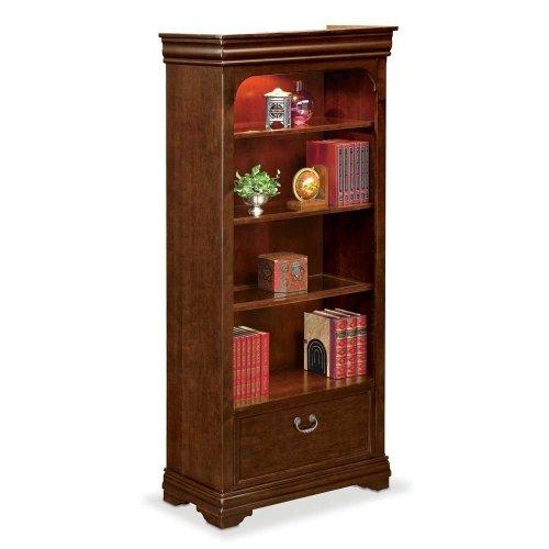 Deep Walnut Finish Four Shelf Bookcase with Drawers - 78.25