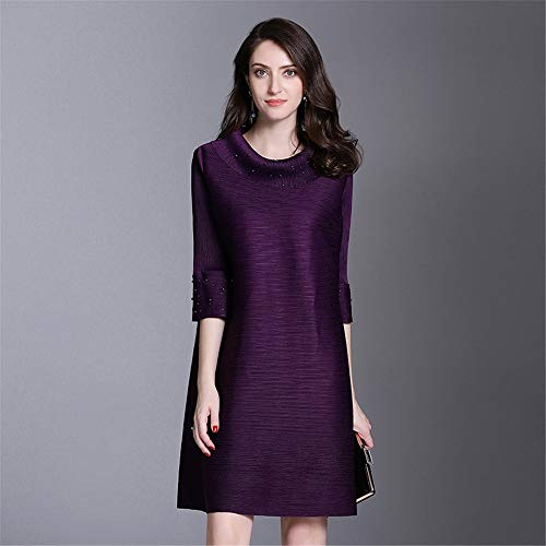 Donne Vintage Mezza Feliciawen Prom A Mini Abiti Purple Party colore Vestito Short Line Dress Manica Cocktail Size Largo Solid Dark Plus Purple Evening Shift 0wXqxXrd