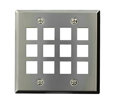 Leviton 43080-S12 QuickPort Wallplate, Dual Gang, 12-Port, Stainless Steel