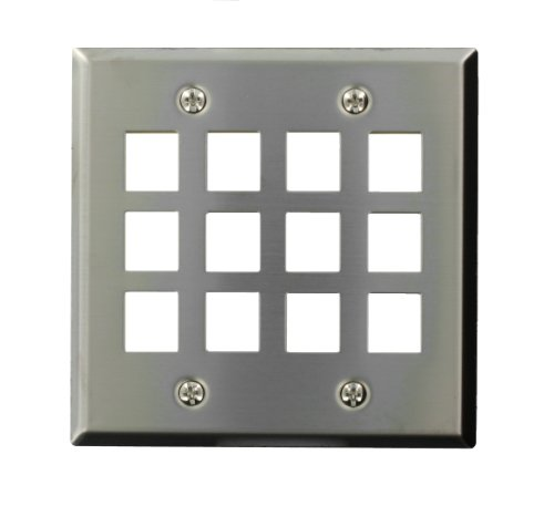 (Leviton 43080-S12 QuickPort Wallplate, Dual Gang, 12-Port, Stainless Steel)