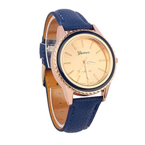 Unisex Casual Geneva Faux Leather Quartz Analog Wrist Watch Blue - 8