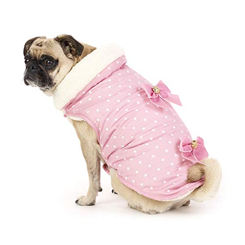 Friends Forever Furry Pink Polka Dot Dog Jacket Coat Vest Cozy Winter Sweater Pet Cat Puppy Holiday Outwear Apparel MD (Medium)
