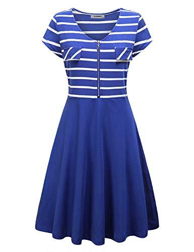 JCZHWQU Summer Dresses for Women, Womens V Neck Cap Sleeve A Line Stripe Printed Zipper Down Embellished Comfortable Lightweight Maternity Nursing Dresses Royal Blue XXL