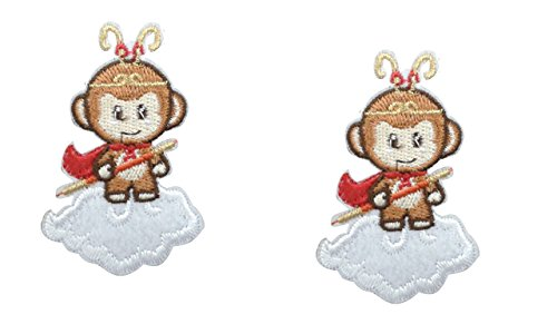 2 pieces MONKEY GOD Iron On Patch Embroidered Applique Sun Wukong Motif Oriental Mystical Legend Journey To The West Decal 2.6 x 1.6 inches (6.5 x 3.8 cm) (Sun Wukong Journey To The West Art)