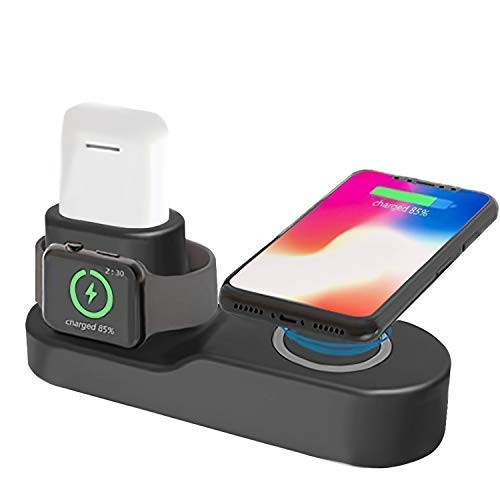 Ecke Wireless Charger, Fast 3 in 1 Stand for iPhone Xs Max/XR/8 Plus/Samsung S10 S9, Wireless Charging Dock Holder Station,No Fit Apple Watch