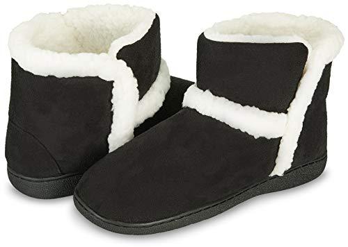 Floopi Womens Indoor Outdoor Bootie Slipper - Sherpa Fur Lined Clog W/Memory Foam (L