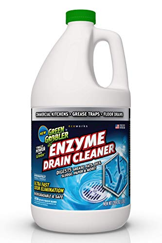 - Green Gobbler Liquid Enzymes Digests Grease, Fats, Oils, Odors Drain Cleaner, 4 Gallon, Clear Yellow