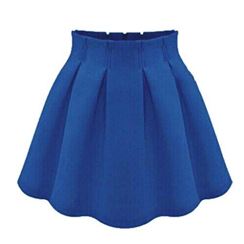 Plaine patineuse Taille Bleu Haute Femmes Mini vase Minetom Stretch jupe qw8XExa