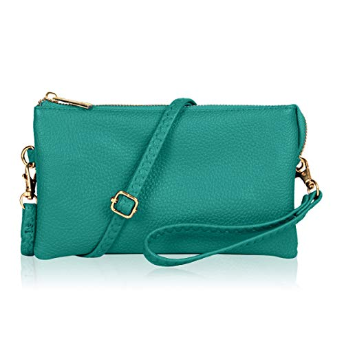 Convertible Vegan Leather Wallet Purse Clutch - Small Handbag Phone/Card Slots & Detachable Wristlet/Shoulder/Crossbody Strap (Pebbled - Turquoise)