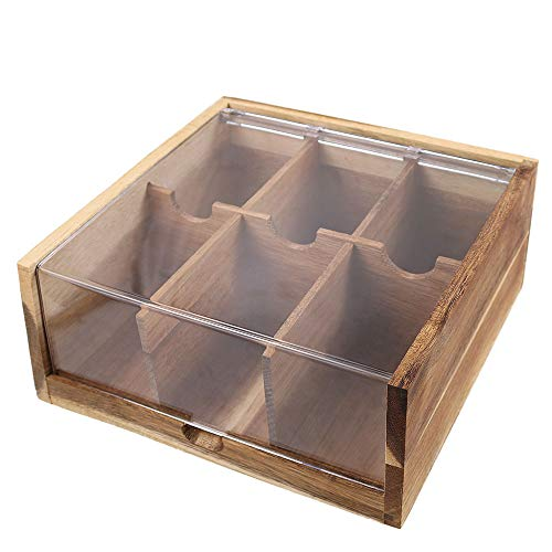 Acacia Wood Tea Bag Organizer Storage, 6 Compartments Tea Chest Box with Acrylic Transparent Hinged Lid By HTB (Tea Acacia Box)