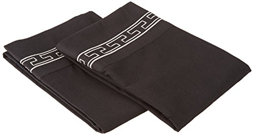 Super Soft Light Weight, 100% Brushed Microfiber 2-Piece Standard Pillowcases Set Wrinkle Resistant, Black with Grey Regal Embroidery
