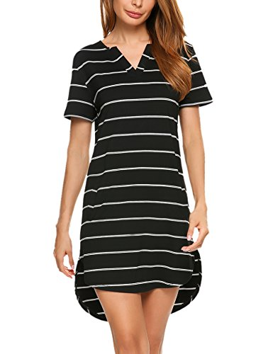 Zeagoo Women's Black and White Striped Dress Loose T-Shirt Dress With Pockets Black S (Shirt Pinstriped Pocket Dress)
