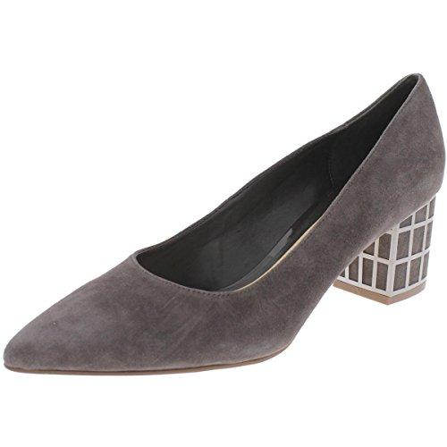 s Karina Suede Pointed Toe Block Heels Taupe 10 Medium (B,M) ()