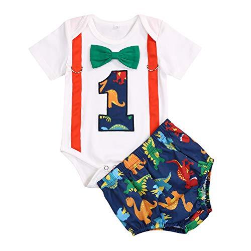 GRNSHTS Baby Birthday Dinosaur Outfits Infant Boy Short Sleeve Gentleman Bodysuit Cake Smash Party Clothes (Dinosaur, 12-15 Months) (Smash Cake For 1 Year Old Boy)