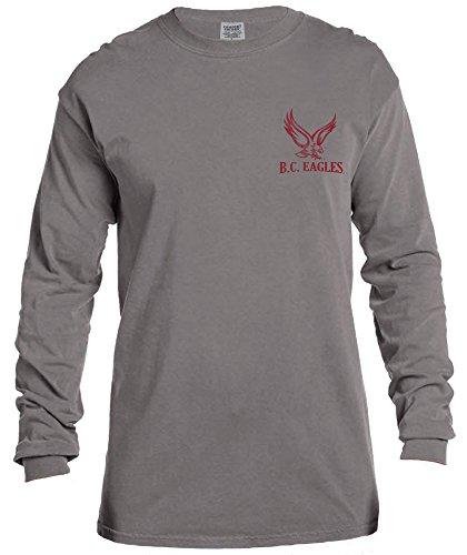 College Long Sleeve Tee - NCAA Boston College Eagles Vintage Poster Long Sleeve Comfort Color Tee, Medium,Grey