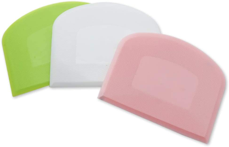 Flexible Food Scrappers Food Safe Plastic Scrapers for Food Processor Bowl Kitchen Bowl Scraping Baking Bread Dough Cake Fondant Icing(3 pieces Pink White, Green)