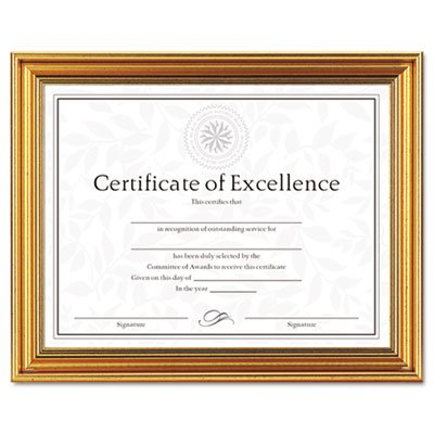 Antique Colored Document Frame w/Certificate, Plastic, 8 1/2 x 11, Gold (16 Pack)