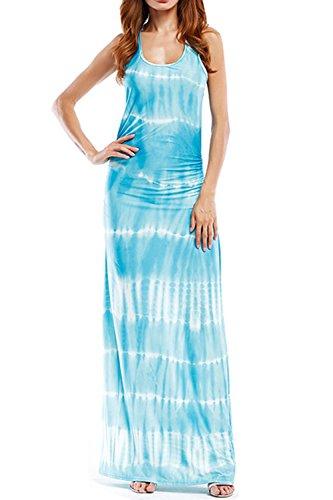 WIWIQS Women`s Tie Dye Ombre Dress Tank Top Casual Maxi Long Dress Light Blue Strips 3XL ()