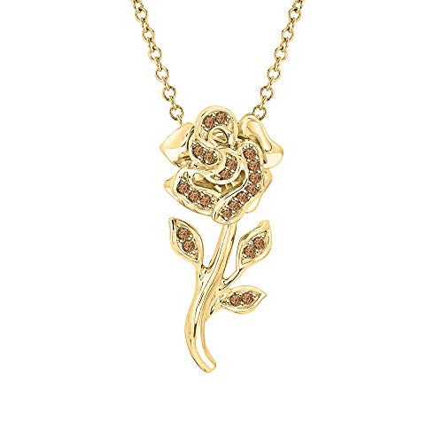 Beautiful Rose Flower Smoky Quartz Pendant Necklace 18k Yellow Gold Over 925 Sterling Silver for Girl's ()
