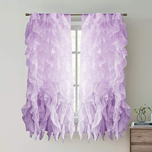 - Sweet Home Collection 2 Pack Window Treatment Sheer Cascading Panel Vertical Ruffled Curtains in Many Sizes and Colors, 63
