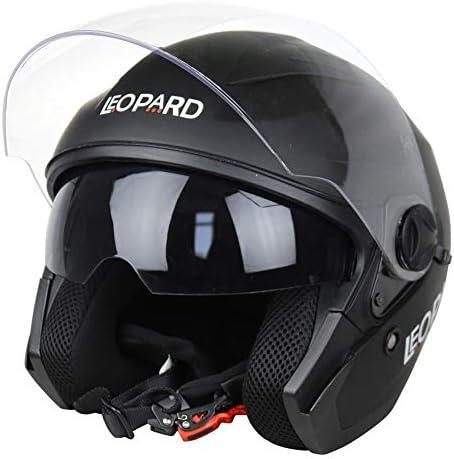 XS-XXL Leopard LEO-608 57-58cm Doppelvisier Offenes Gesicht Jethelme Motorradhelm #02 Schwarz M Damen und Herren ECE Genehmigt