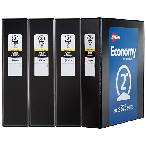 Avery 19205 Economy View Binder 2 Black (4 Pack)