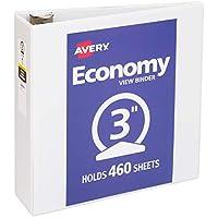 """Avery - Carpeta de 3 anillas, vista económica, 3 """", anillo redondo, papel de 8,5"""" x 11 """", 1 carpeta blanca (5741)"""