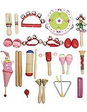 Juguetes Musicales Instrumentos Orff Banda Ritmo Kit para Niños con Pandero De Guiro Campanillas Maracas Trompeta Armónica (Rosa) ESjasnyfall