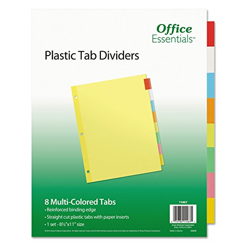 Office Essentials 11467 Plastic Insertable Dividers, 8-Tab, Letter