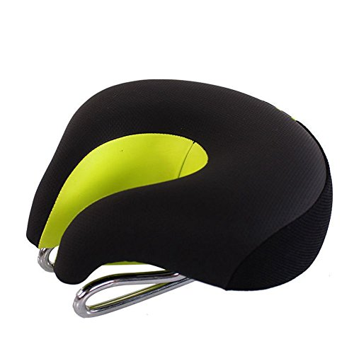 Soft Bicycle Cushion Pad Wide Comfortable Bike Seat No Nose Mountain Bike Saddle Cycling Ergonomic Safety Reflective Tape (Green)