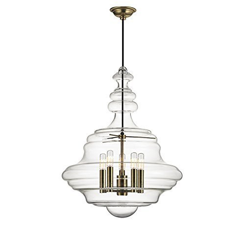 Hudson Valley Lighting 4020-AGB 5-Light Pendant, Large, Aged Brass Finish by Lumtopia--DROPSHIP ()