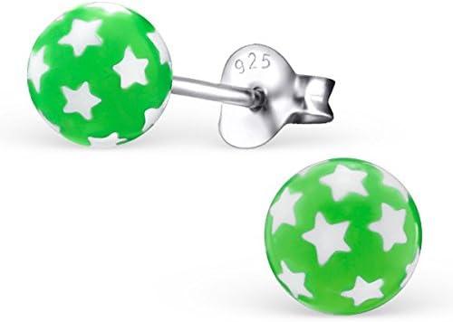 pink oder gr/ün SILV Kugel Ohrstecker Stern t/ürkis 925 Silber Ohrringe Stecker Sterne mit Kunstoffkugel /Ø5mm #SV-121
