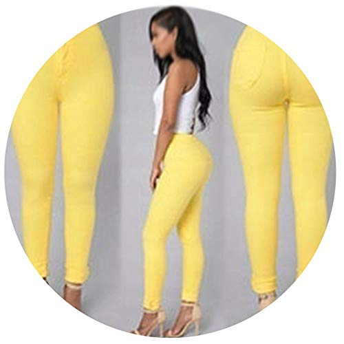 Qirong Solid Wash Skinny Jeans Woman High Waist Winter Denim Pants Plus Size Push Up Trouserswarm Pencil Pants Female Yellow (The Winter Mant)