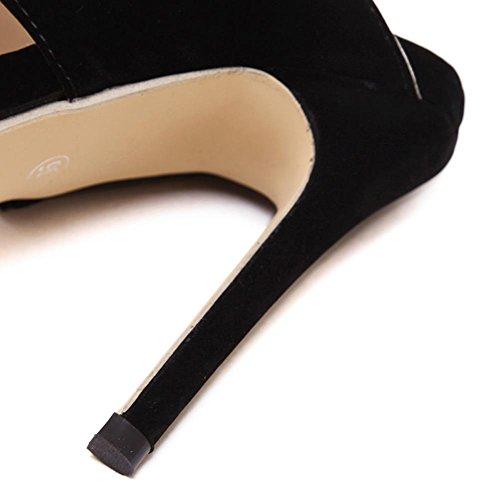 coupé L dans de peep 11 Femme hauts a une tresses black YC talons cm les de combiné fête PnqwPfrx8F