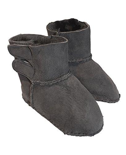 Velcro de oveja bebé patucos–100% auténtica piel de cordero y Super suave, para niños de 12–18meses gris claro Talla:2-3years gris