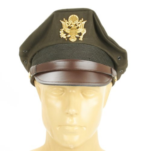 a4126fbecf9 Amazon.com  U.S. WWII Officer Visor Crusher Cap  Winter (OD Green)- Size US  7 3 4 (62 cm)  Military Apparel Accessories  Clothing