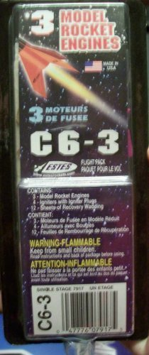 3 Model Rocket Engines Estes C6-3