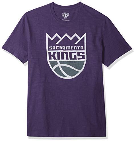 (NBA Sacramento Kings Male OTS Slub Distressed Tee, Purple, Large)