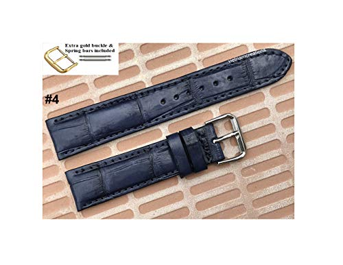 20mm Genuine CROCODILE/ALLIGATOR Skin Leather Watch Strap Band for men Handmade (20mm, 04 Navy Blue)