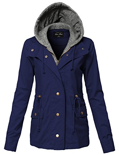 Luna Flower Warm Comfortable Two Tone Hoodie Mixed Utility Jackets 125-Navy Large