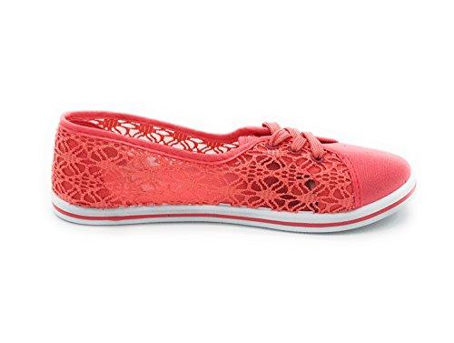 EASY21 Women up Shoes Ballet Canvas Falts Coral13 Lace aaqTwgUr