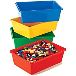 Tot Tutors Kids' Primary Colors Large Storage Bins, Set of 4
