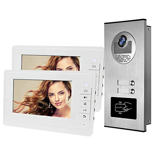 HFeng 7'' Color Wired Video Intercom Door Phone System kit 700TVL RFID Access Entry Camera Doorbell IR Night Vision for Multi- Apartments/Family/Home 100 Meters (1 Camera 2 Monitors)