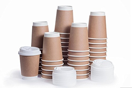 Disposable Coffee Cups with Snap Lids in Bulk, Double Walled Thermal Insulation Paper Travel Cup with Cover for Hot Beverages like Tea, Cocoa by Plastible (100 Pack - 12 ()