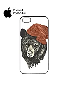 Bear with Beanie Mobile Cell Phone Case Cover iPhone 4&4s White