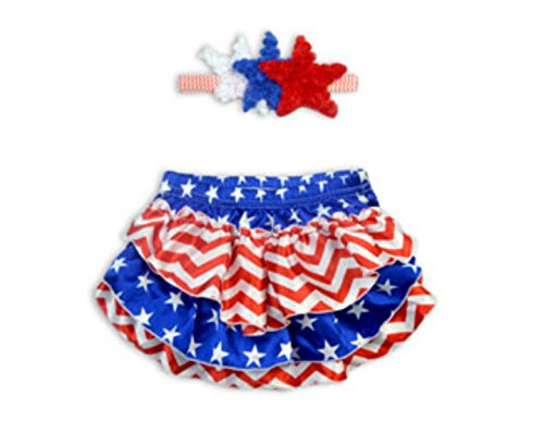 Rush Dance Satin Photography Baby Ruffle Bloomers Diaper Covers & Headband (Large (12-24M), Red Blue White Stars (Patriotic))