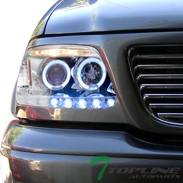 Topline Autopart Chrome Led Halo Projector Head Lights Headlights Lamps Corner Signal Blinkers 97-03 Ford F150 Expedition