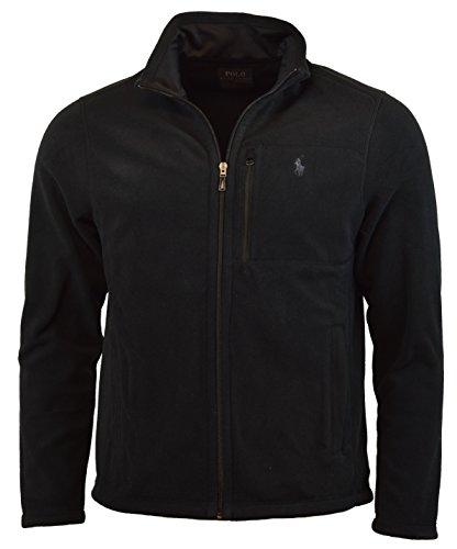 Polo Neck Zip Jacket - Polo Ralph Lauren Men's Performance Full Zip Fleece Jacket (L, Black)